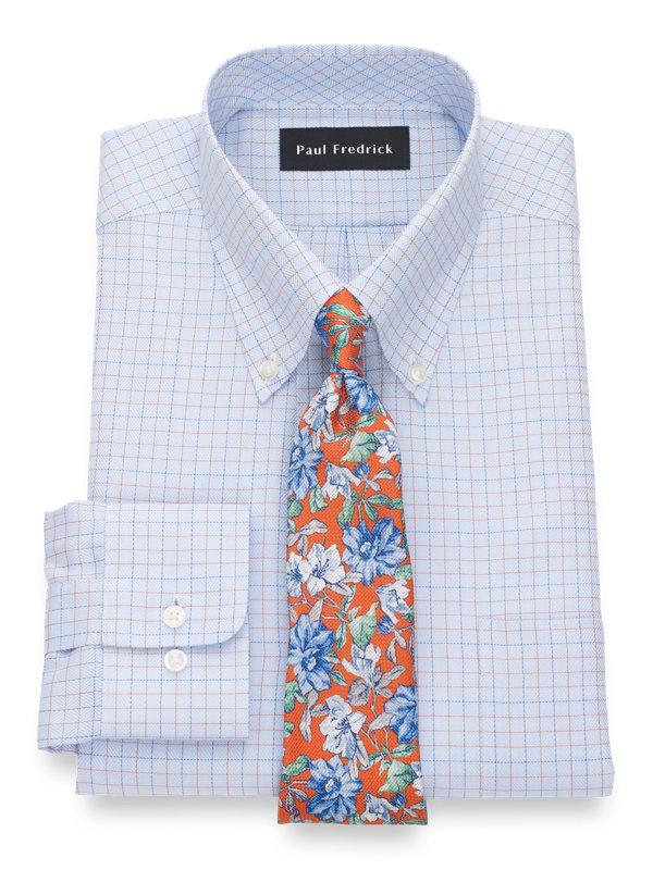 Pure Cotton Twill Check Button Cuff Dress Shirt