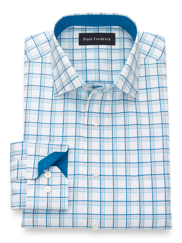 Slim Fit Non-Iron Supima Cotton Tattersall Dress Shirt with Contrast Trim