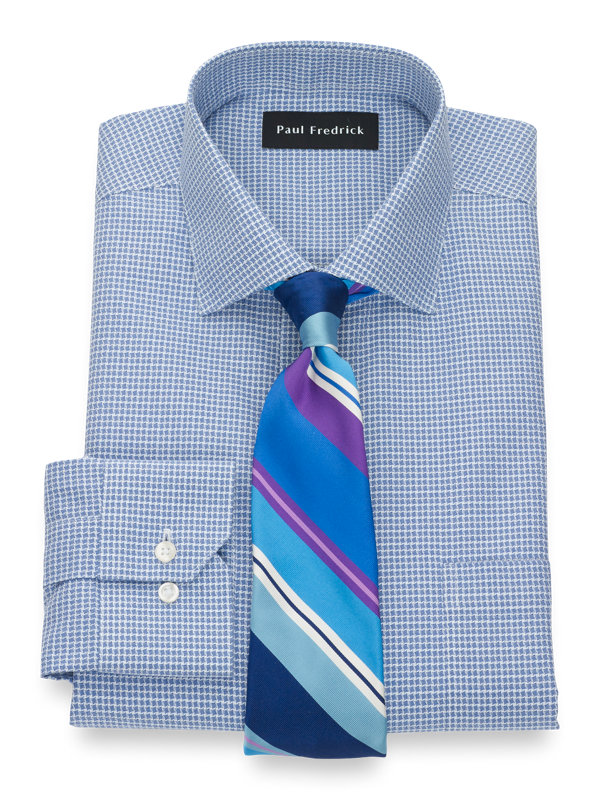 Slim Fit Non-Iron Supima Cotton Houndstooth Dress Shirt