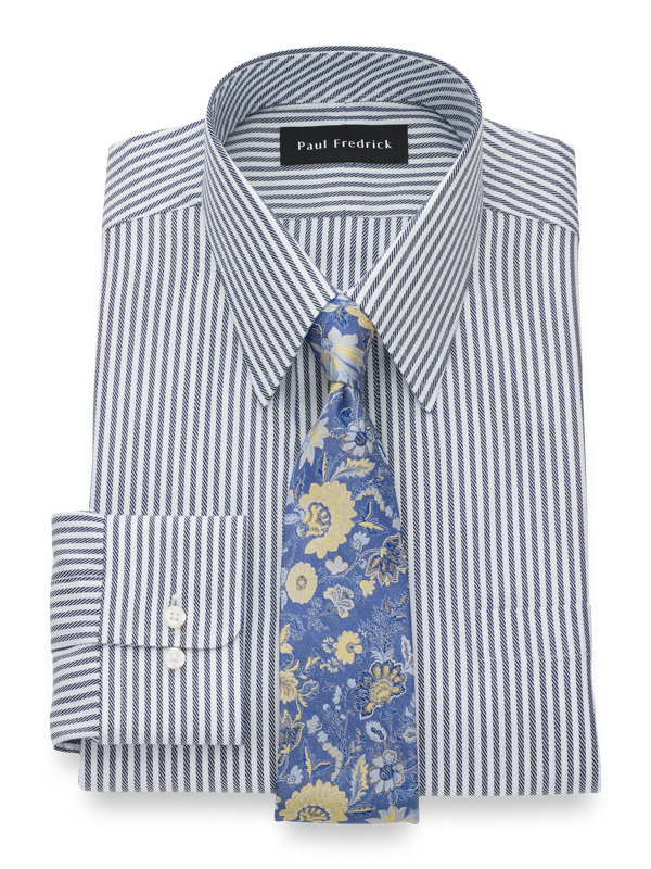 Pure Cotton Twill Stripe Button Cuff Dress Shirt