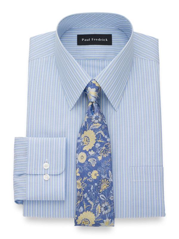 Pure Cotton Twin Stripe Button Cuff Dress Shirt