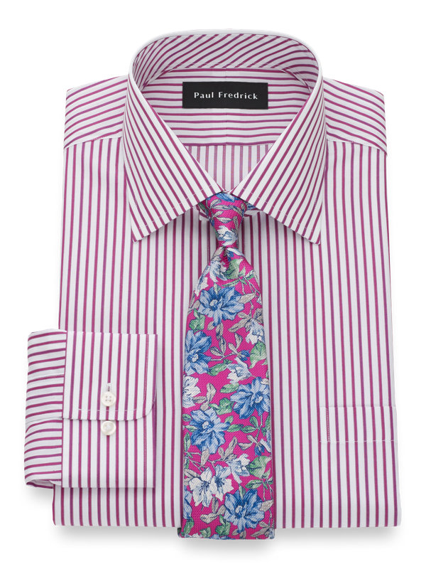 Slim Fit Pure Cotton Satin Stripe Button Cuff Dress Shirt