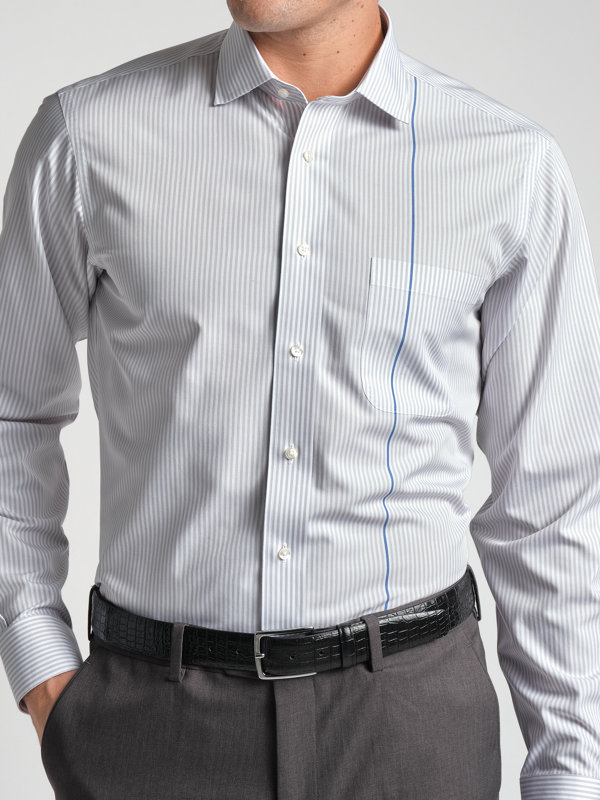 Slim Fit Non-Iron Supima Cotton Engineered Stripe Dress Shirt