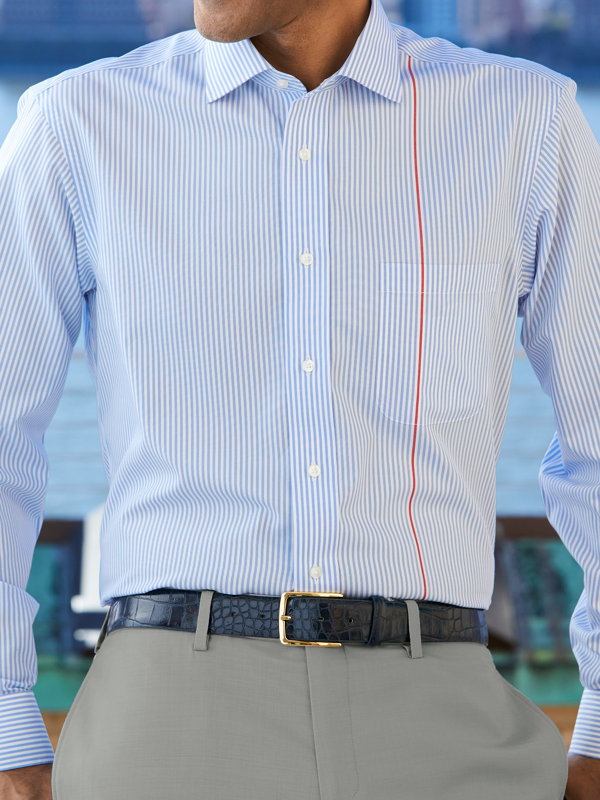 Non-Iron Supima Cotton Engineered Stripe Dress Shirt