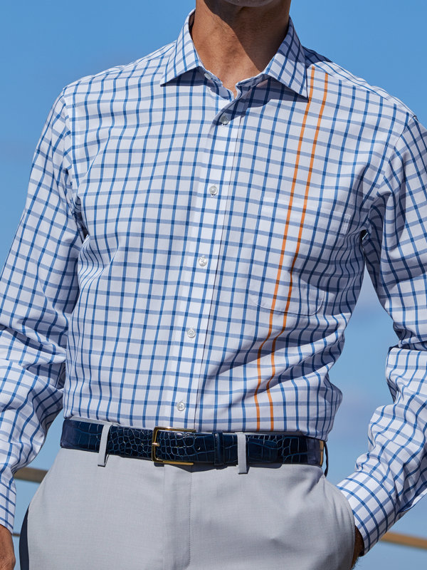 Non-Iron Supima Cotton Engineered Check Dress Shirt