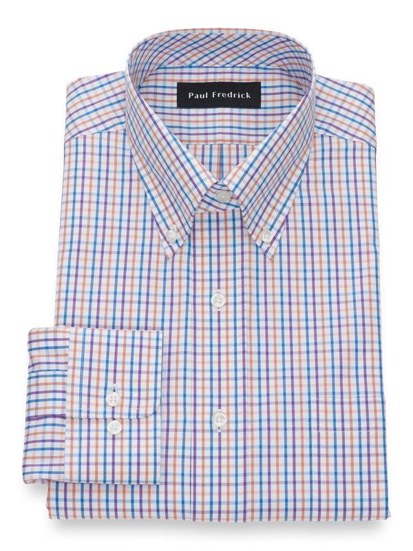 Pure Cotton Tattersall Button Cuff Dress Shirt