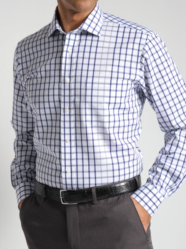 Tailored Fit Non-Iron Supima Cotton Engineered Check Dress Shirt