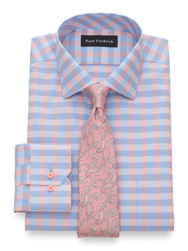Tailored Fit Impeccable Non-Iron Cotton Gingham Dress Shirt