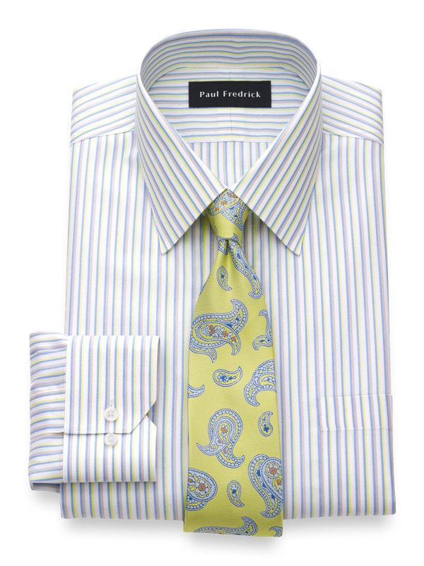 Tailored Fit Non-Iron Cotton Silk Stripe Dress Shirt