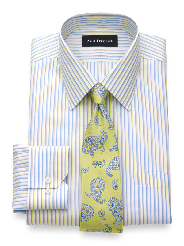 Slim Fit Non-Iron Cotton Silk Stripe Dress Shirt