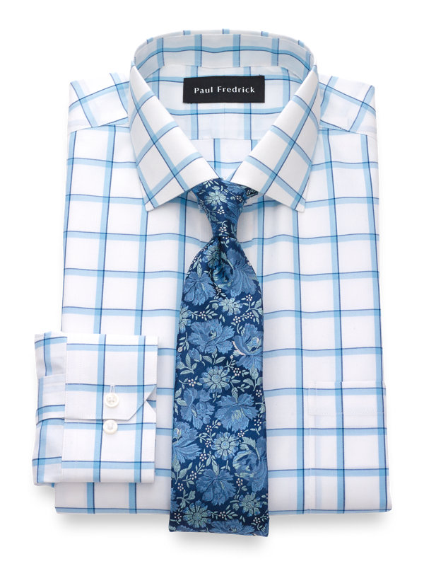 Tailored Fit Non-Iron Cotton Silk Windowpane Dress Shirt