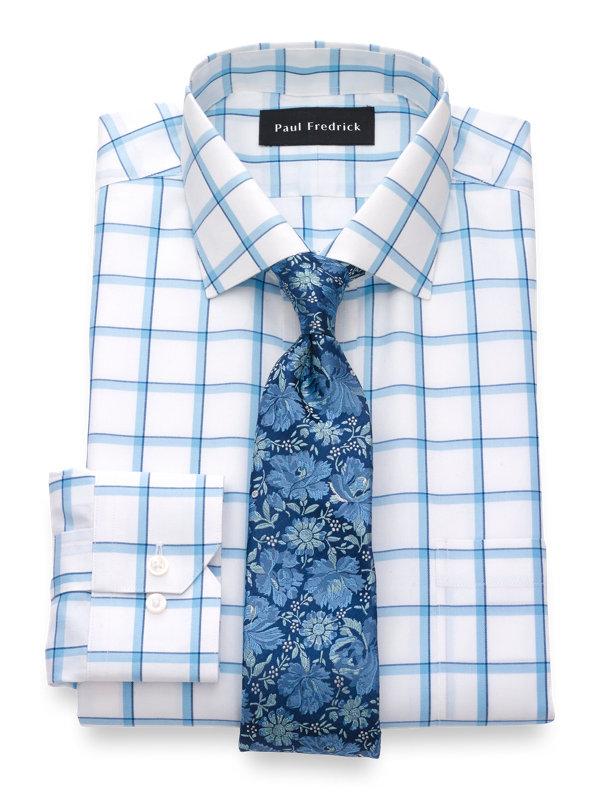 Slim Fit Non-Iron Cotton Silk Windowpane Dress Shirt