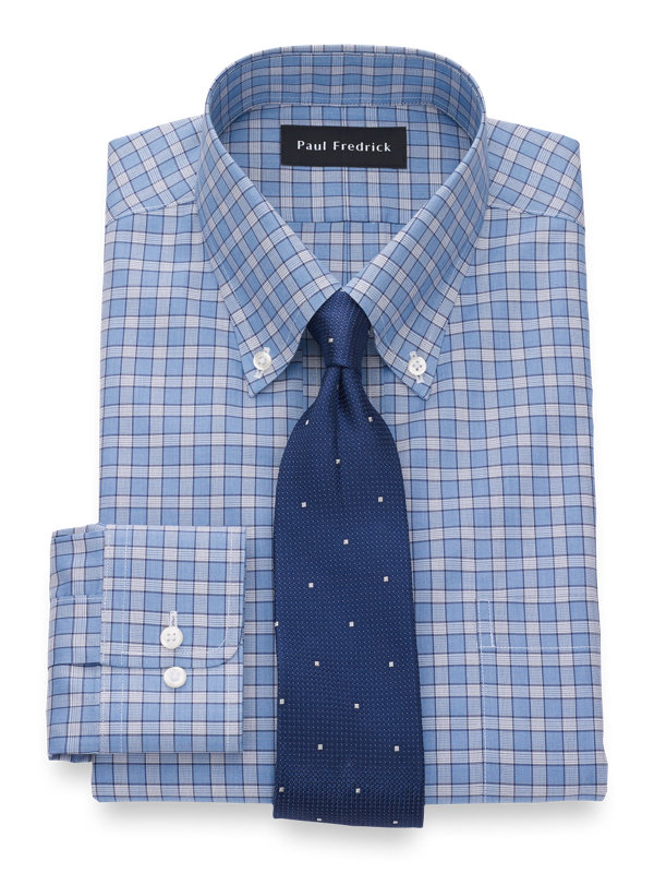 Slim Fit Non-Iron Cotton Silk Check Dress Shirt