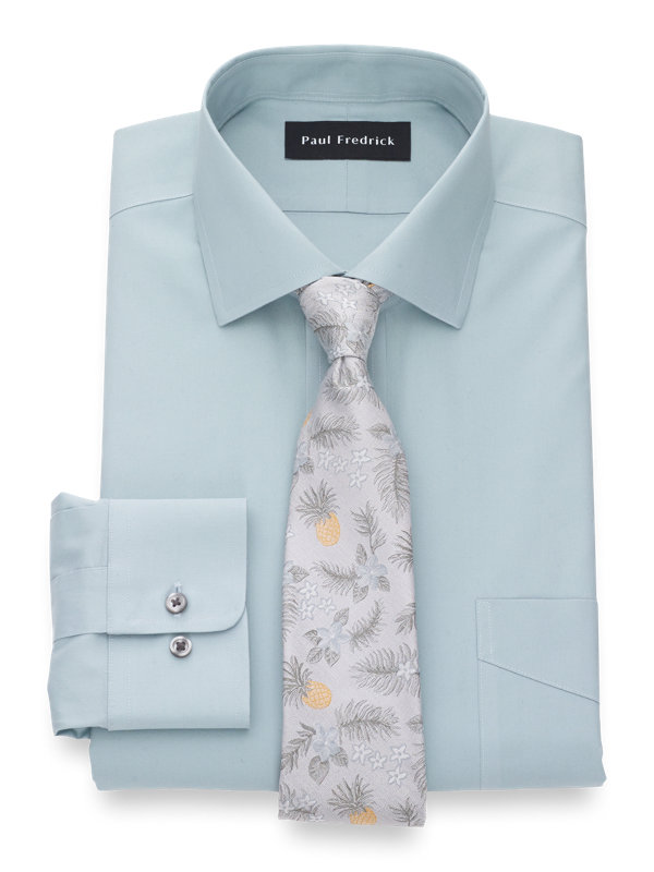 Tailored Fit Non-Iron Cotton Pinpoint Solid Dress Shirt