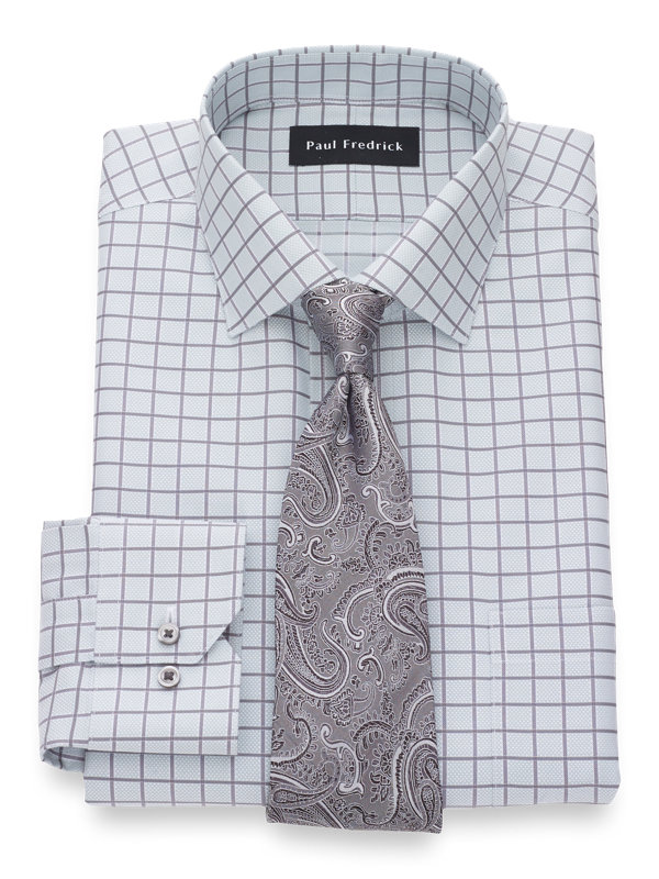 Tailored Fit Non-Iron Cotton Windowpane Dress Shirt