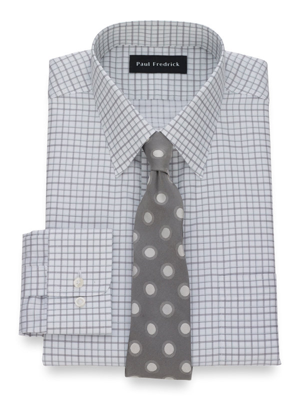 Tailored Fit Non-Iron Cotton Pinpoint Tattersall Dress Shirt