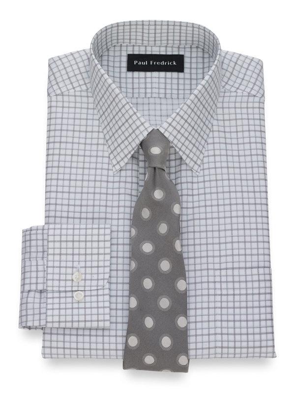 Slim Fit Non-Iron Cotton Pinpoint Tattersall Dress Shirt