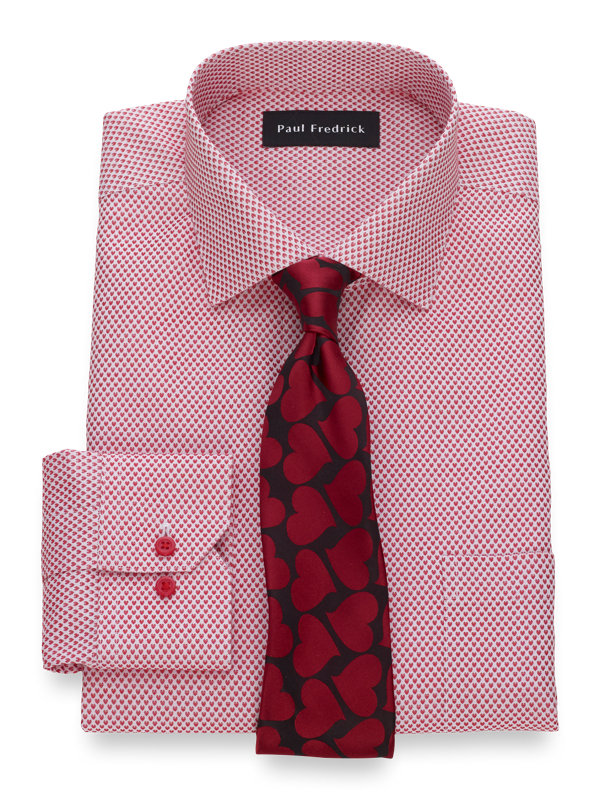 Tailored Fit Non-Iron Cotton Heart Pattern Dress Shirt