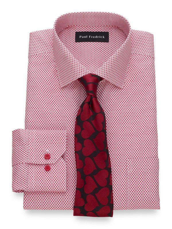 Slim Fit Non-Iron Cotton Heart Pattern Dress Shirt