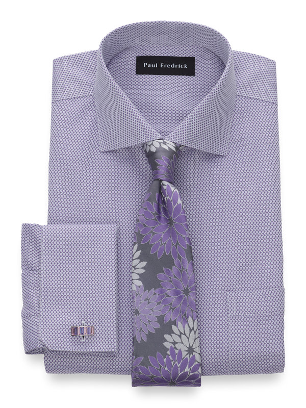 Slim Fit Non-Iron Cotton Diamond Pattern Dress Shirt