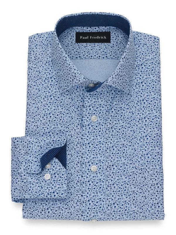 Non-Iron Pinpoint Cotton Botanical Print Dress Shirt with Contrast Trim