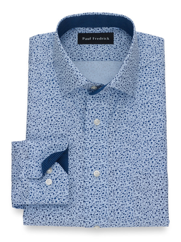 Tailored Fit Non-Iron Cotton Botanical Print Dress Shirt with Contrast Trim