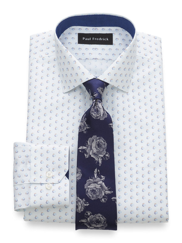 Slim Fit Non-Iron Pinpoint Cotton Circle Print Dress Shirt with Contrast Trim