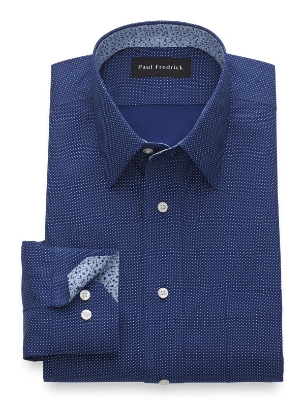 Slim Fit Non-Iron Cotton Pinpoint Dot Pattern Dress Shirt with Contrast Trim