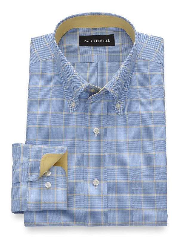 Tailored Fit Non-Iron Cotton Glen Plaid Dress Shirt with Contrast Trim