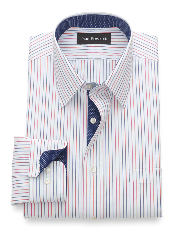 Non-Iron Cotton Pinpoint Alternating Stripe Dress Shirt with Contrast Trim