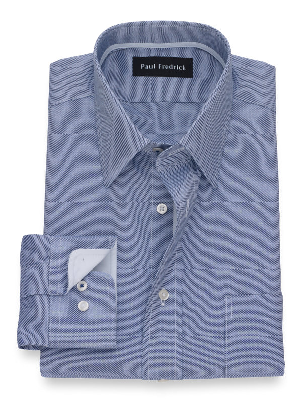 Slim Fit Non-Iron Cotton Textured Solid Dress Shirt with Contrast Trim