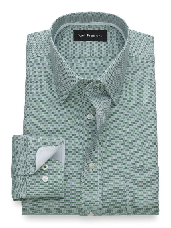 Tailored Fit Non-Iron Cotton Textured Solid Dress Shirt with Contrast Trim