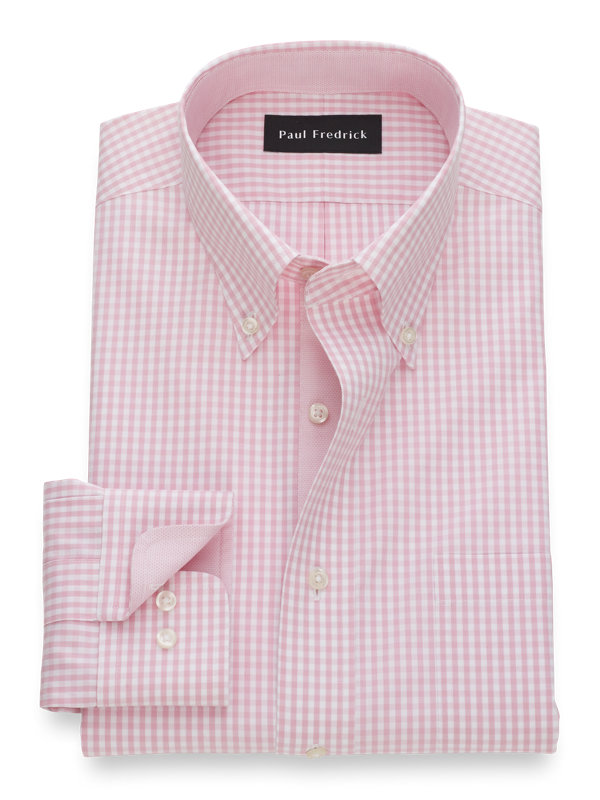 Tailored Fit Non-Iron Cotton Pinpoint Gingham Dress Shirt with Contrast Trim