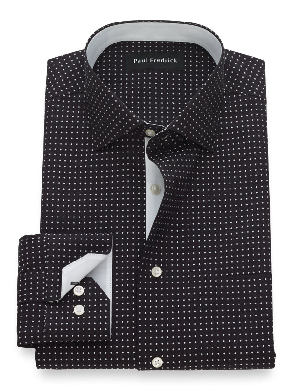 Tailored Fit Non-Iron Cotton Dot Pattern Dress Shirt with Contrast Trim