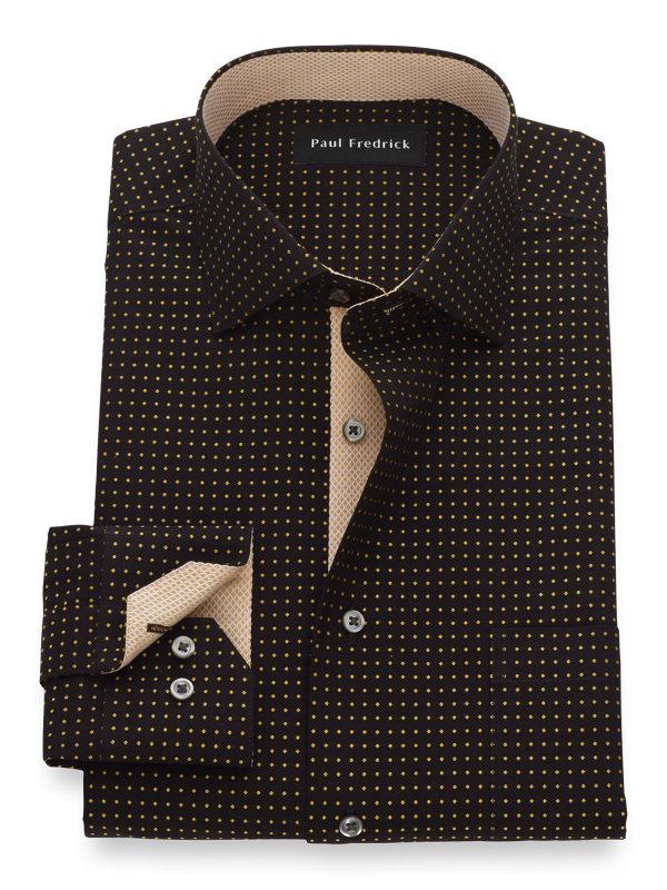 Non-Iron Cotton Dot Pattern Dress Shirt with Contrast Trim