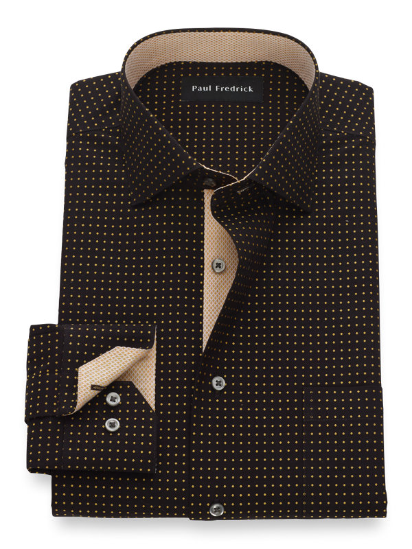 Non-Iron Cotton Dot Pattern Dress Shirt with Contrast Trim