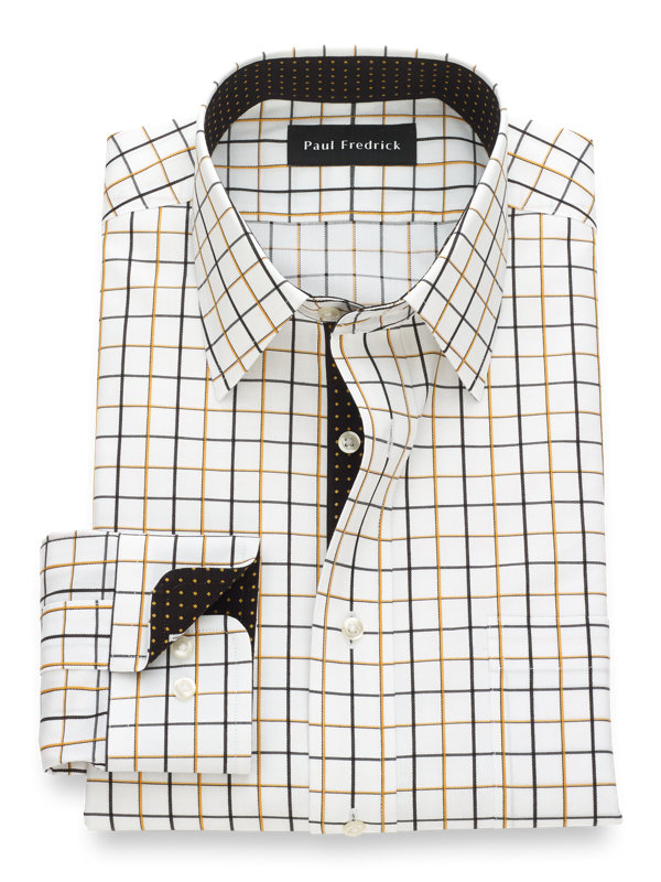 Slim Fit Non-Iron Cotton Satin Grid Dress Shirt with Contrast Trim