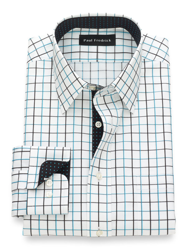 Tailored Fit Non-Iron Cotton Satin Grid Dress Shirt with Contrast Trim