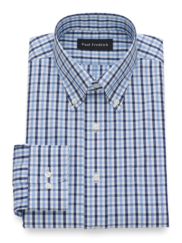 Slim Fit Non-Iron Cotton Pinpoint Gingham Dress Shirt