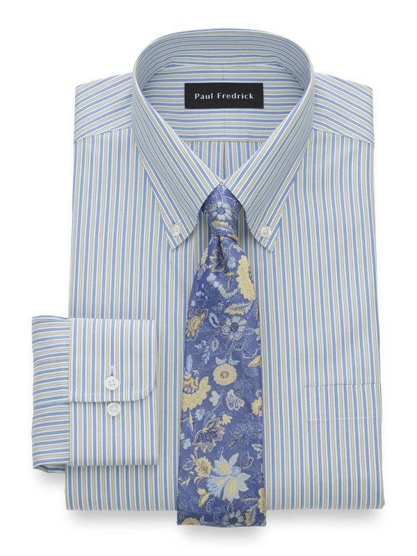 Non-Iron Cotton Pinpoint Alternating Stripe Dress Shirt