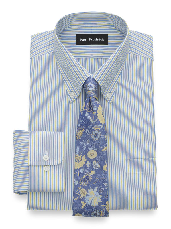 Tailored Fit Non-Iron Cotton Pinpoint Alternating Stripe Dress Shirt