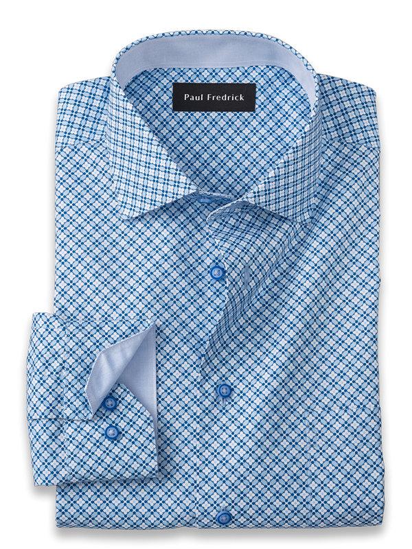 Non-Iron Cotton Deco Print Dress Shirt with Contrast Trim