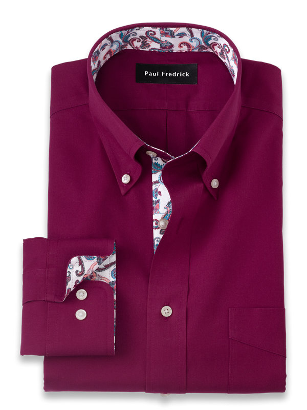 Tailored Fit Non-Iron Cotton Solid Dress Shirt with Contrast Trim