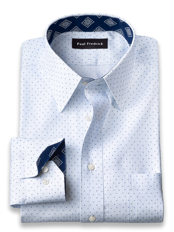Non-Iron Cotton Stripe Print Dress Shirt with Contrast Trim