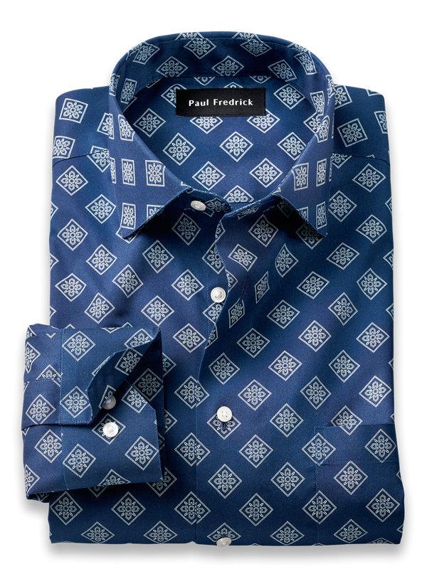 Slim Fit Non-Iron Cotton Medallion Print Dress Shirt