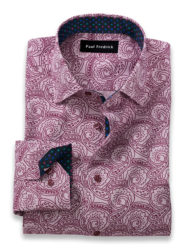 Non-Iron Cotton Paisley Print Dress Shirt with Contrast Trim