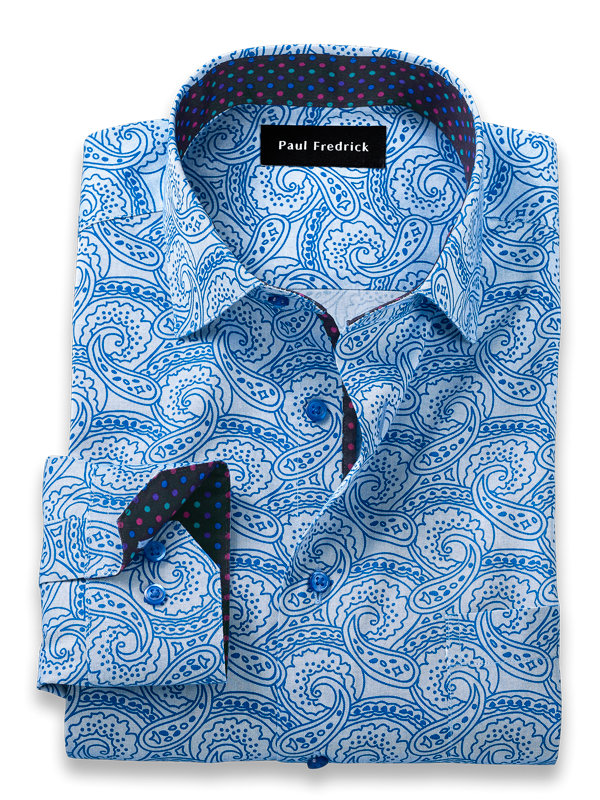 Tailored Fit Non-Iron Cotton Paisley Print Dress Shirt with Contrast Trim