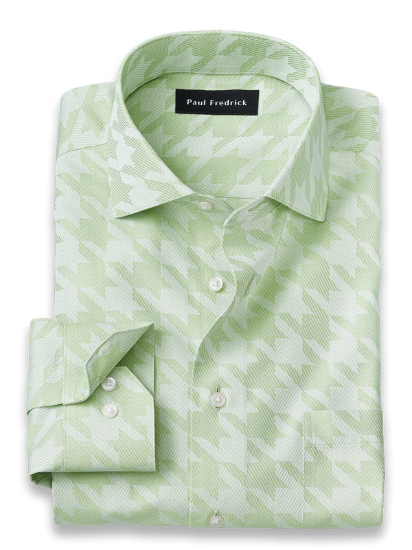 Tailored Fit Non-Iron Cotton Houndstooth Dress Shirt