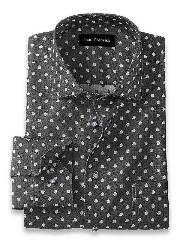 Slim Fit Non-Iron Cotton Dot Dress Shirt
