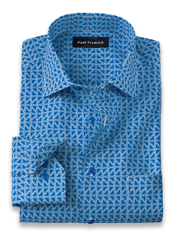 Tailored Fit Non-Iron Cotton Deco Print Dress Shirt